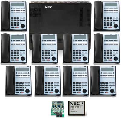 NEC SL1100 Phone System with 10) 12-Button Phones and Voice Mail